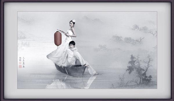怎么用Photoshop打造一张水墨韵味的艺术婚片?Photoshop打造一张水墨韵味的艺术婚片的方法是什么?