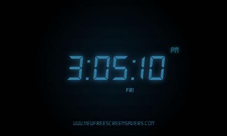 蓝色夜光数字时钟屏保[夜光时钟屏保] 绿色版